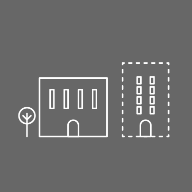 tile graphic of two buildings, one with a dotted outline representing planning