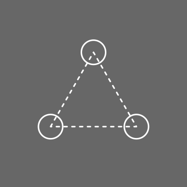 tile graphic of three circles with dotted lines connecting them, forming a triangle