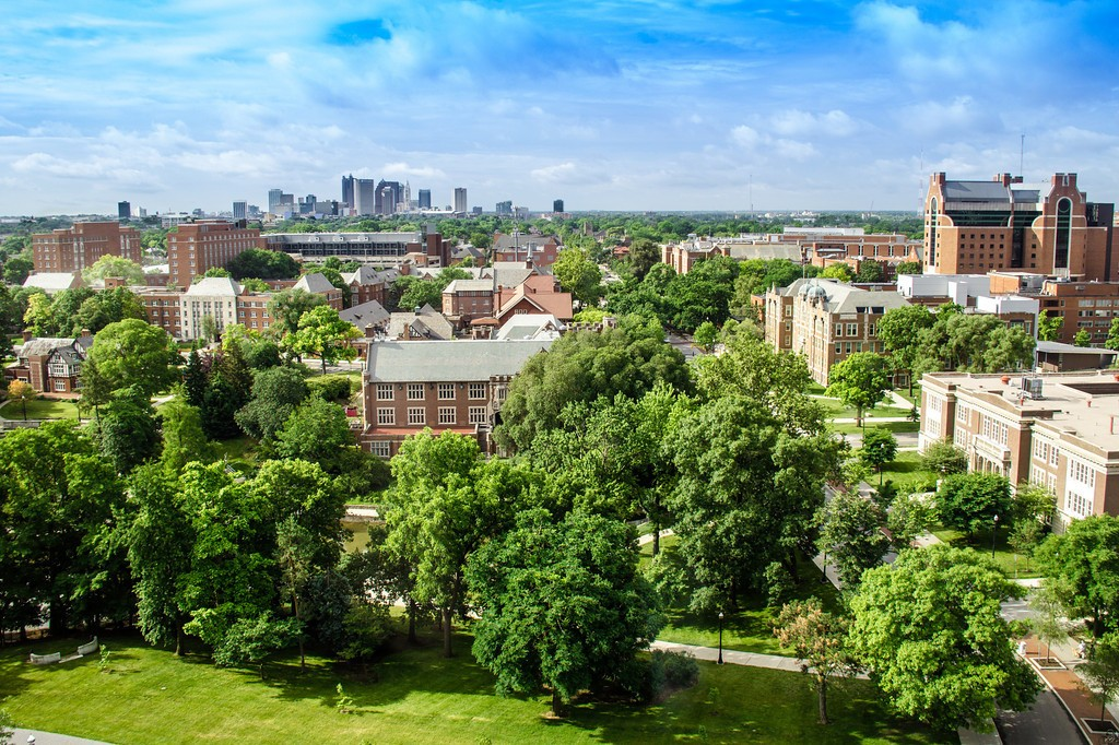 aerial view of the campus, looking south toward the Columbus skyline
