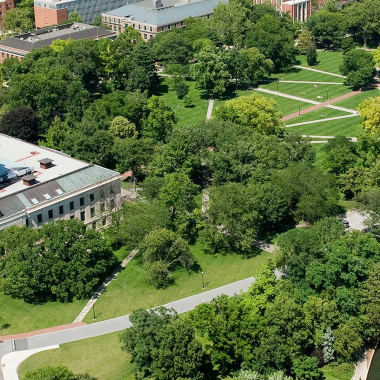 aerial view of Thompson Library and The Oval
