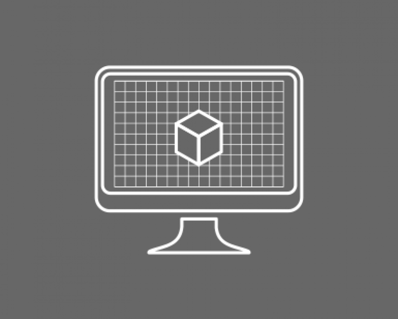 tile graphic of a computer screen showing a 3-D cube
