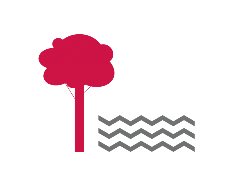 tile graphic of a red cartoon tree alongside gray waves representing water